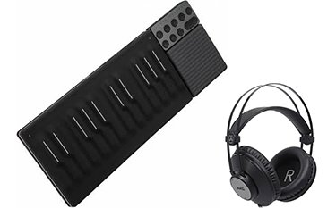 Keyboard and headphones for creating music